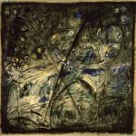 """""""La notte dei grilli"""" - mt. 1,50 x mt. 1,80 - carboncino e chine su carta da scenario"""