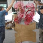 17 - in vetreria, pannello di sicurezza inciso e dipinto a tecnica mista