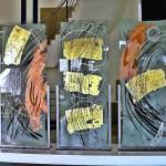 """43 - """"Chiaia di luna"""" - vetri di sicurezza incisi, dipinti foglia oro e pigmento rame, mt. 0,90 x mt. 2,00 x n° 3"""