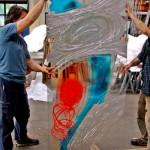 20 - in vetreria, pannello di sicurezza inciso e dipinto a tecnica mista