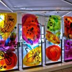 10 - Negombo - vetri di sicurezza incisi, dipinti - mt. 0,90 x mt. 2,00 x n.4