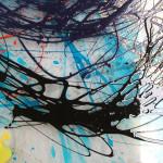 35 - dettaglio di pittura a tecnica mista su vetro con sabbiatura, incisione, pittura a rilievo e murrine fredde