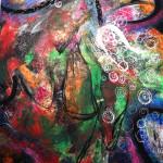 """""""Senza paura e senza speranza nel giardino di Tenzin Chodron"""" - mt. 1,70x1,85 - tecnica mista su tela"""